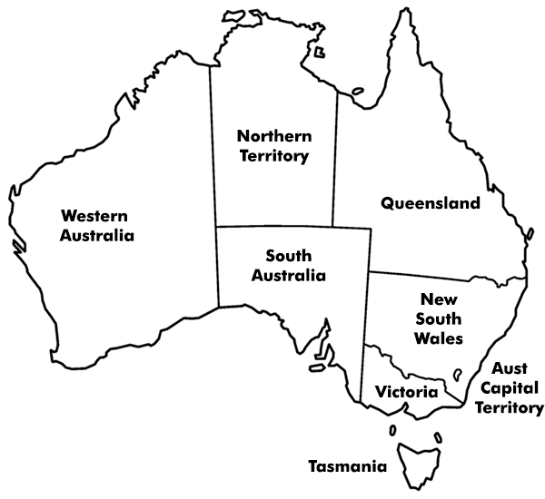 State and Territory Workplace Authorities Workers Comp Risk Services – State Map of Australia